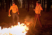 02 JUNE 2011 - ALPINE, AZ: Carl Vance (LEFT) and Dick Bucklin, both volunteers with Apache county SO attack a spot fire in the Chapache development at the Wallow Fire near Alpine. High winds and temperatures complicated firefighters' efforts to get the blaze under control. Officials have issued a mandatory evacuation order and residents of the Alpine area had to leave by 8PM Thursday.   PHOTO BY JACK KURTZ