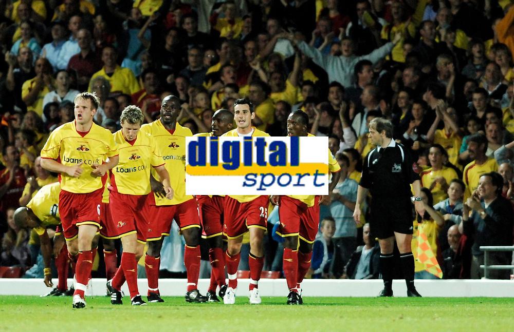 Photo: Richard Lane.<br />Watford v West Ham United. The Barclays Premiership. 22/08/2006. Watford celebrate Marlon King's goal.