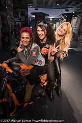 Kia Niedrich (L) of Easyriders Germany with Simone Messer (middle) and Veronica Calilli (R) of Custom Chrome Europe in the CCE booth at Motor Bike Expo. Verona, Italy. Sunday January 22, 2017. Photography ©2017 Michael Lichter.