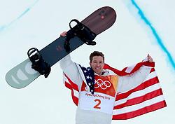 February 14, 2018 - PyeongChang, South Korea - SHAUN WHITE of USA celebrates winning gold in Snowboard Men's Halfpipe Final at Phoenix Snow Park during the 2018 Pyeongchang Winter Olympic Games. (Credit Image: © Jon Gaede via ZUMA Wire)