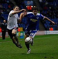 Photo: Steve Bond/Sportsbeat Images.<br />Leicester City v West Bromwich Albion. Coca Cola Championship. 08/12/2007. Zoltan Gera (L) is muscled off the ball by Joe Mattock (R)