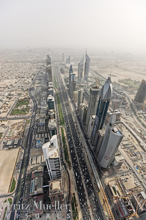 Aerial view looking down Sheikh Zayed Road in Dubai, United Arab Emirates
