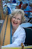 Harpist extraordinaire Mary Ann Harr Grinde, prior to evening performance, Wisconsin Chamber Orchestra, Concerts on the Square,