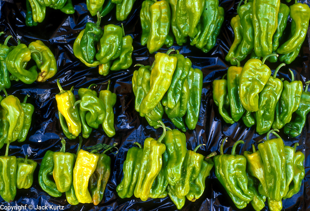 16 JANUARY 2002, GUANAJUATO, GUANAJUATO, MEXICO:  Peppers for sale in the market in the city of Gunajuato, state of Guanajuato, Mexico, Jan. 16, 2002. .PHOTO BY JACK KURTZ