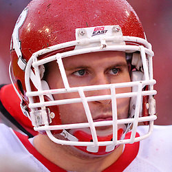 Sep 26, 2009; College Park, MD, USA; Rutgers offensive lineman Ryan Blaszczyk (61) looks on from the bench during the first half of Rutgers' 34-13 victory over Maryland in NCAA college football at Byrd Stadium.