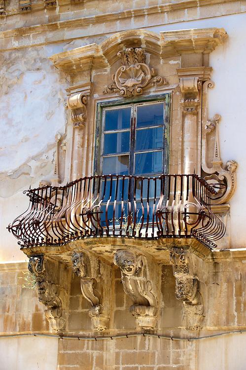 Baroque balcony  of the palace of  Beneventano, Sicili, Sicily