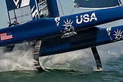 Team USA lose control through a Gybe. Event 2 Season 1 SailGP event in San Francisco, California, United States. 02 May 2019. Photo: Chris Cameron for SailGP. Handout image supplied by SailGP