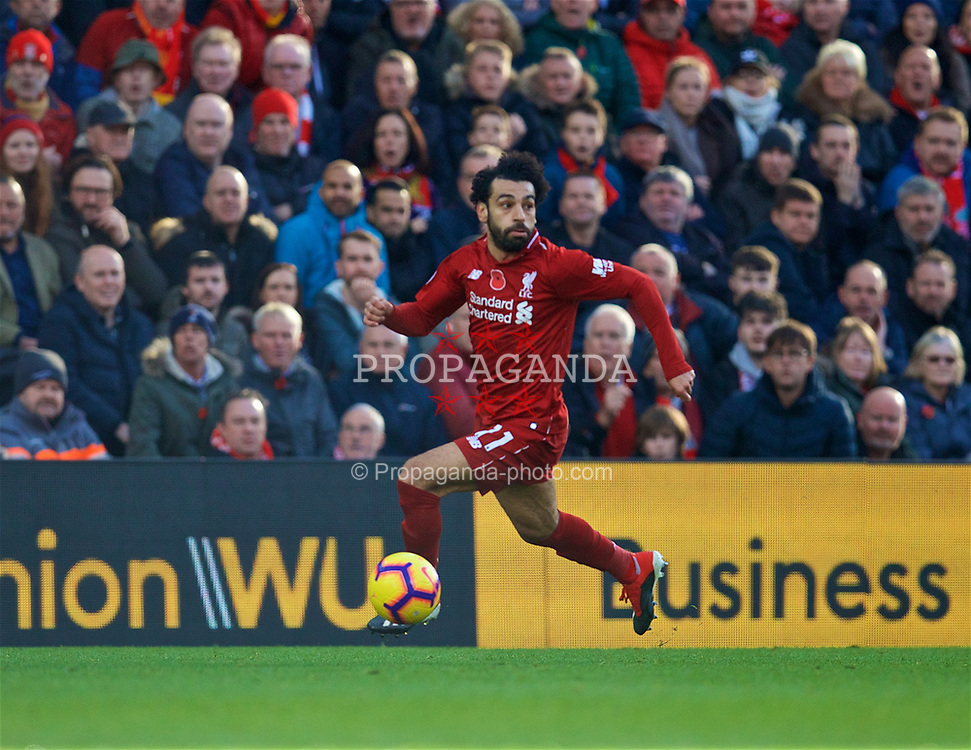 LIVERPOOL, ENGLAND - Sunday, November 11, 2018: Liverpool's Mohamed Salah on his way to scoring the first goal during the FA Premier League match between Liverpool FC and Fulham FC at Anfield. (Pic by David Rawcliffe/Propaganda)