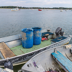 Bait barrels on a skiff at Pine Point in Scarborough, Maine.