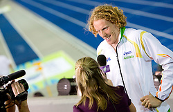 Steven Hooker of Australia interviewed after he won the gold medal in the men's Pole Vault Final during day eight of the 12th IAAF World Athletics Championships at the Olympic Stadium on August 22, 2009 in Berlin, Germany. (Photo by Vid Ponikvar / Sportida)
