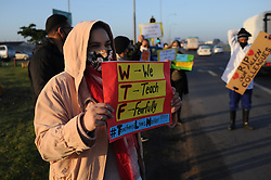 South Africa - Cape Town - 03 July 2020 - Teachers and concerned parents pcket along Jakes Gerwel against the reopening of schools during the National Lockdown Level 3.  Picture: Henk Kruger/African News Agency(ANA)