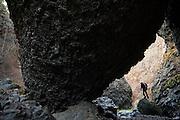 Local climber Jon Jantz explores Deep Creek Canyon, a climbing area in Riverside State Park near Spokane, Washington.