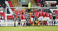 Photo. Andrew Unwin.Digitalsport<br /> Darlington v Barnsley, Carling Cup First Round, Williamson Motors Stadium, Darlington 24/08/2004.<br /> Barnsley take the lead with a superb free-kick from Chris Shuker (18).