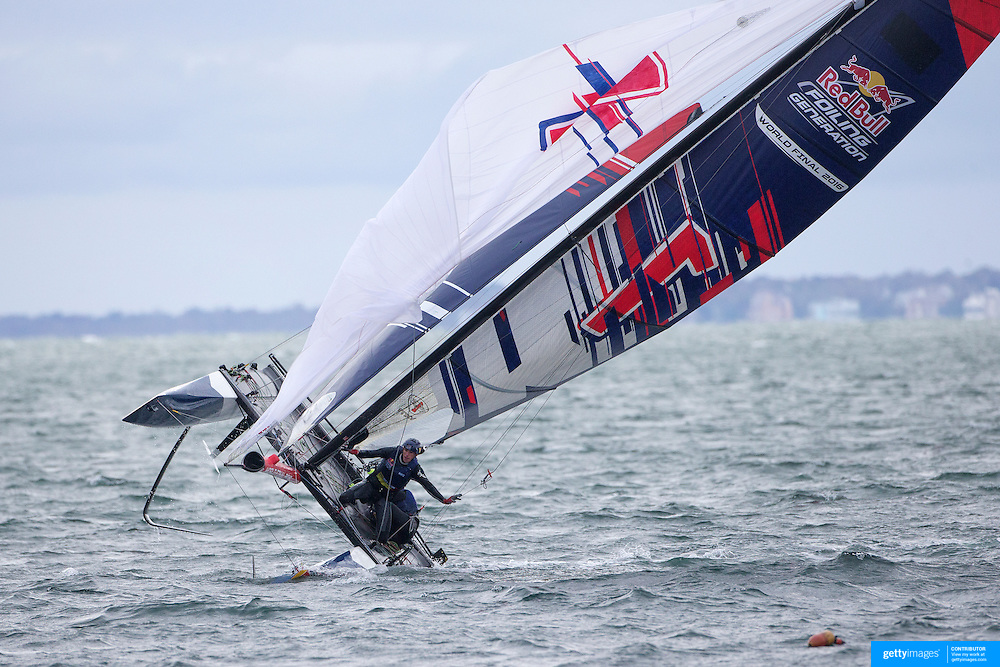 NEWPORT, RHODE ISLAND- OCTOBER 22:  The Belgium team of Alec Bague and Wirtz Morgan capsize during the Red Bull Foiling Generation World Final 2016 on October 22, 2016 in Narragansett Bay, Newport, Rhode Island. (Photo by Tim Clayton/Corbis via Getty Images)