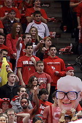 14 February 2015:   Red Alert student fan section sports a human banana and Harry Carey during an NCAA MVC (Missouri Valley Conference) men's basketball game between the Wichita State Shockers and the Illinois State Redbirds at Redbird Arena in Normal Illinois