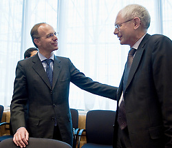 Luc Frieden, Luxembourg's finance minister, left, speaks with Herman Van Rompuy, president of the European Council, right, during the first meeting of the Van Rompuy task force on economic governance, in Brussels, on Friday, May 21, 2010. (Photo © Jock Fistick)