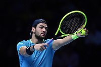 Tennis - 2019 Nitto ATP Finals at The O2 - Day Five<br /> <br /> Singles Group Bjorn Borg: Dominic Thiem (Austria) vs. Matteo Berrettini (Italy)<br /> <br /> Matteo Berrettini in action during his 2 set victory over Dominic Thiem, 7-6, 6-3<br /> <br /> COLORSPORT/ASHLEY WESTERN