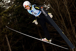 February 7, 2019 - Ljubno, Savinjska, Slovenia - Fangyu Zhou of China competes on qualification day of the FIS Ski Jumping World Cup Ladies Ljubno on February 7, 2019 in Ljubno, Slovenia. (Credit Image: © Rok Rakun/Pacific Press via ZUMA Wire)