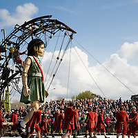 LIVERPOOL, UK, 20th April, 2012. The Sea Odyssey. The little girl giant arrives at Everton Brow before taking an afternoon nap.