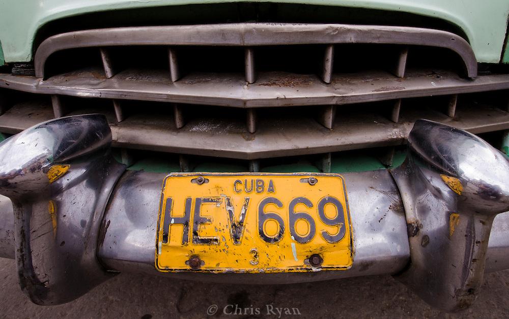 License plate on American car, Havana, Cuba
