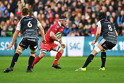 Will Boyde of Scarlets in action during todays match<br /> <br /> Photographer Craig Thomas/Replay Images<br /> <br /> Guinness PRO14 Round 11 - Ospreys v Scarlets - Saturday 22nd December 2018 - Liberty Stadium - Swansea<br /> <br /> World Copyright © Replay Images . All rights reserved. info@replayimages.co.uk - http://replayimages.co.uk