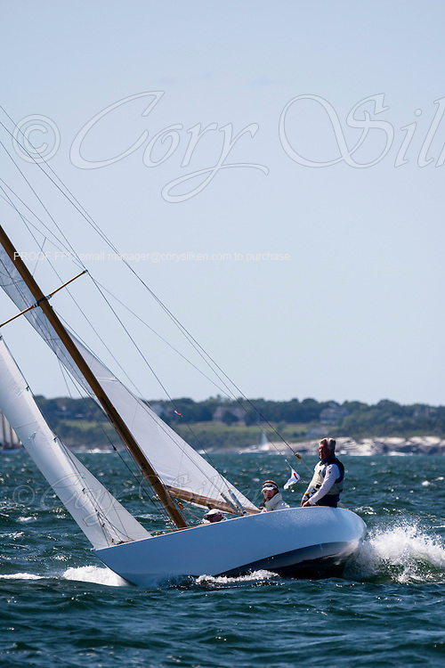 Lucie sailing in the Newport Classic Yacht Regatta.