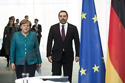 April 4, 2017 - Berlin, Germany - German Chancellor Angela Merkel and Lebanese Prime Minister Saad Hariri arrive to address a statement to the media in Berlin, Germany on April 4, 2017. (Credit Image: © Emmanuele Contini/NurPhoto via ZUMA Press)