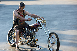 Dalton Walker on his custom Bay Area style Harley-Davidson Panhead digger builder invite bike gets unveiled at a pre-party for Born Free-7. CA, USA. . June 25, 2015.  Photography ©2015 Michael Lichter.