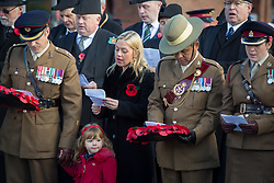 @Licensed to London News Pictures 10/11/2019. Maidstone, Kent. Serving military personnel including the 36 Engineer Regiment and the Queens Gurkha Engineers, ex-service organisations, standard bearers and cadets attend the Remembrance Parade today at the Memorial in The Broadway in Maidstone. Photo credit: Manu Palomeque/LNP