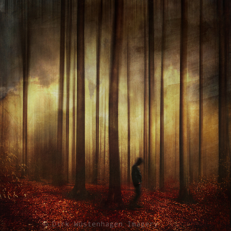 Abstract forest scenery with a man passing by