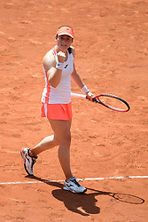 PARIS, FRANCE June 8. Tamara Zidansek of Slovenia celebrates her victory against Paula Badosa of Spain on Court Philippe-Chatrier during the quarter finals of the singles competition at the 2021 French Open Tennis Tournament at Roland Garros on June 8th 2021 in Paris, France. Photo by SIPA/SPORTIDA