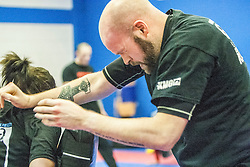 Students practising their punches. Stef Noij, KMG Instructor from the Institute Krav Maga Netherlands, takes the IKMS G Level Programme seminar today at the Scottish Martial Arts Centre, Alloa.
