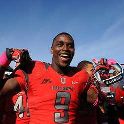 Oct 13, 2012: Rutgers Scarlet Knights defensive back Tejay Johnson (9) flexes his muscles in celebrating victory in NCAA Big East college football action between the Rutgers Scarlet Knights and Syracuse Orange at High Point Solutions Stadium in Piscataway, N.J.