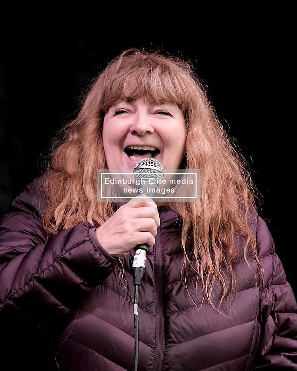 All Under One Banner March, Edinburgh, 5 October 2019<br /> <br /> Pictured: Comedian Janey Godley addresses the crowd in the Meadows<br /> <br /> Alex Todd | Edinburgh Elite media