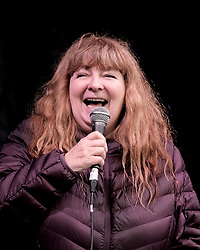 All Under One Banner March, Edinburgh, 5 October 2019<br /> <br /> Pictured: Comedian Janey Godley addresses the crowd in the Meadows<br /> <br /> Alex Todd | Edinburgh Elite media