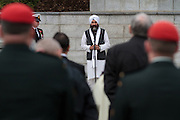 Mr Bharpoor Singh gives a commemorative observation representing the Sikh religion during the Remembrance Day ceremonies at the Commonwealth War Cemetery in Hodogaya, Yokohama, Japan. Wednesday November 11th 2015