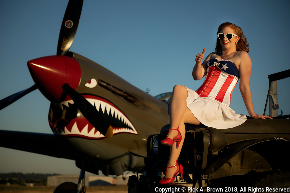 Lacy Lady Pinup model and P-40 at Warbirds Over the West.