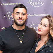 Kieran from Love Island & Danny attend the Oppo party to launch its new Madagascan Vanilla, Sicilian Lemon and Raspberry Cheesecakes, served with Skinny Prosecco at Farm Girls Café, 1 Carnaby Street, Soho, London, UK on July 18 2018.