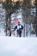 Photo Randy Vanderveen.Grande Prairie , Alberta.13-01-05.Hans Appleman urges his dogs through the race course as he takes part in the skijor event ? dogs pull the musher around the course on skis as opposed to a sled. The Grande Prairie Sled Dog Derby ran two days of races at Evergreen Park this past weekend, Jan. 5 and 6.