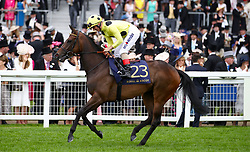 Madeline ridden by Jockey Andrea Atzeni goes to post for the Jersey Stakes