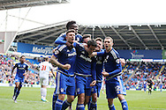 Peter Whittingham  of Cardiff city © celebrates with his teammates after he scores his teams 2nd goal from a penalty to make it 2-1. Skybet football league championship match, Cardiff city v Bolton Wanderers at the Cardiff city Stadium in Cardiff, South Wales on Saturday 23rd April 2016.<br /> pic by Andrew Orchard, Andrew Orchard sports photography.