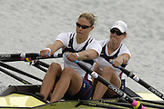 Munich, GERMANY, 2006, FISA, Rowing, World Cup, USA W2X Bow Brett Stickler and Susan Francia,  held on the Olympic Regatta Course, Munich, Thurs. 25.05.2006. © Peter Spurrier/Intersport-images.com,  / Mobile +44 [0] 7973 819 551 / email images@intersport-images.com..[Mandatory Credit, Peter Spurier/ Intersport Images] Rowing Course, Olympic Regatta Rowing Course, Munich, GERMANY