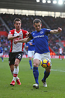 Football - 2017 / 2018 Premier League - Southampton vs. Everton<br /> <br /> Leighton Baines of Everton and Southampton's Cedric Soares at St Mary's Stadium Southampton<br /> <br /> COLORSPORT/SHAUN BOGGUST