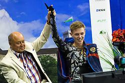 Alexander Petrov of Russia with his coach Alexei Mishin at ISU Junior Grand Prix of Figure Skating Ljubljana Cup 2014 on August 29, 2014 in Hala Tivoli, Ljubljana, Slovenia. Photo by Matic Klansek Velej / Sportida