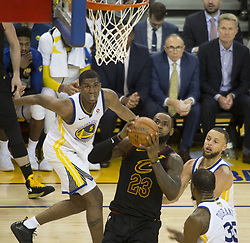May 31, 2018 - Oakland, California, U.S - LeBron James #23 of the Cleveland  Cavaliers goes for a  layup during  their NBA Championship Game 1 with the  Golden State Warriors  at Oracle Arena in Oakland,  California on Thursday,  May 31, 2018. ARMANDO  ARORIZO/PI (Credit Image: © Prensa Internacional via ZUMA Wire)