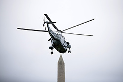 May 5, 2018 - Washington, District of Columbia, United States of America - United States President Donald flies aboard Marine One as it takes off from the South Lawn of The White House on May 5, 2018 in Washington, DC. President Trump will travel to Cleveland, Ohio to speak at Public Hall ahead of state primary elections..Credit: Zach Gibson / Pool via CNP (Credit Image: © Zach Gibson/CNP via ZUMA Wire)