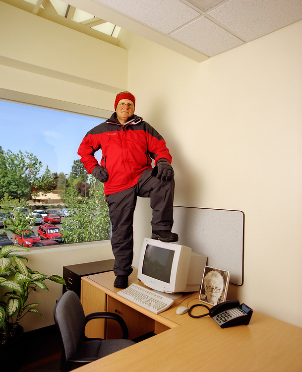 Tim Boyle, CEO Columbia Sportswear and son of company founder, Gert Boyle. He does climb mountains and this is not his office.