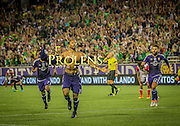 MLS Game, Orlando City v San Jose Earthquake, Orlando City dedicate match to Pulse nightclub Shootings In Orlando.  <br /> 06-18-16.<br /> Orlando's Julio Baptista celebrates after he makes it 2-1   . <br /> Orlando, Florida, USA.<br /> Picture  Mark Davison for DailyMail.com<br /> Saturday 18th June 2016.