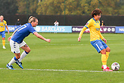Brighton & Hove Albion forward Lee Geum-Min (9) passes the ball during the FA Women's Super League match between Everton Women and Brighton and Hove Albion Women at the Select Security Stadium, Halton, United Kingdom on 18 October 2020.