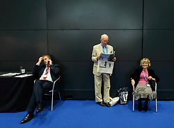 (c) Licensed to London News Pictures. <br /> 03/10/2017<br /> Manchester, UK<br /> <br /> Visitors at the Conservative Party Conference take a break between speeches at the Manchester Central Convention Complex.<br /> <br /> Photo Credit: Ian Forsyth/LNP